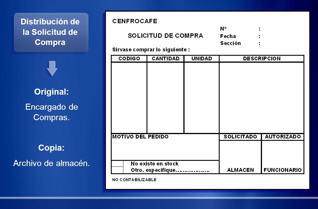 Distribución de la Solicitud de Compra Original: Encargado de Compras. Copia: Archivo de almacén.
