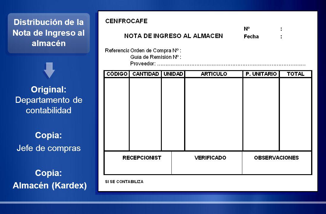 Distribución de la Nota de Ingreso al almacén Original: Departamento de contabilidad Copia: Jefe de compras Copia: Almacén (Kardex)