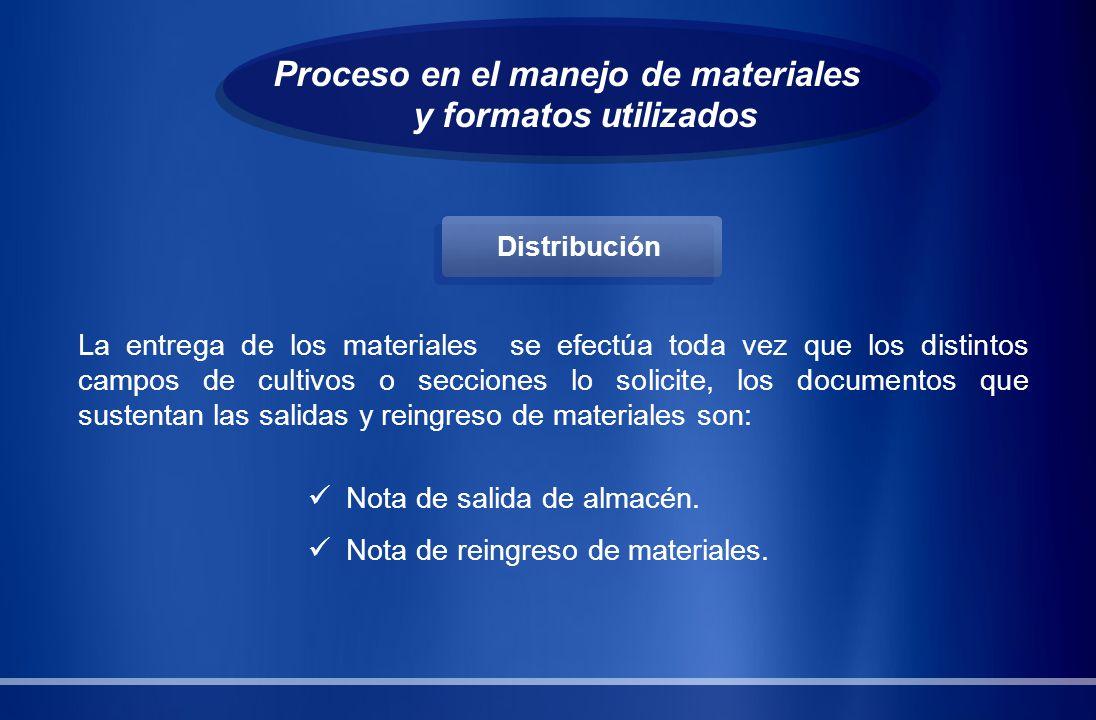 Proceso en el manejo de materiales y formatos utilizados La entrega de los materiales se efectúa toda vez que los distintos campos de cultivos o secci