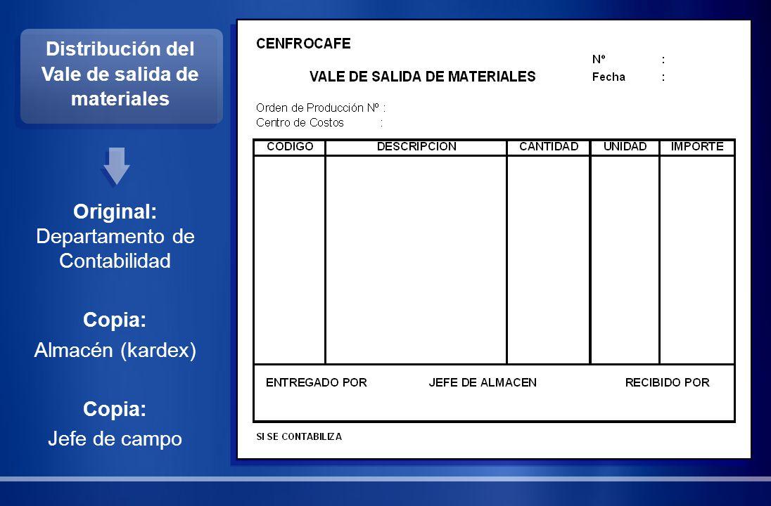 Distribución del Vale de salida de materiales Original: Departamento de Contabilidad Copia: Almacén (kardex) Copia: Jefe de campo