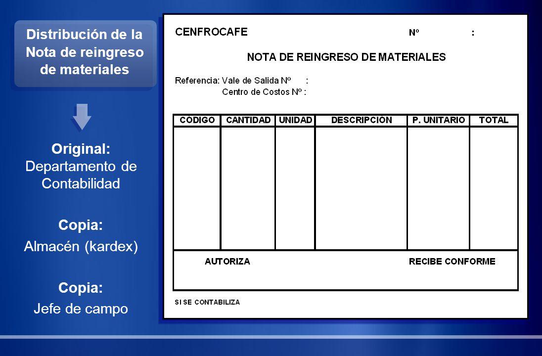 Distribución de la Nota de reingreso de materiales Original: Departamento de Contabilidad Copia: Almacén (kardex) Copia: Jefe de campo