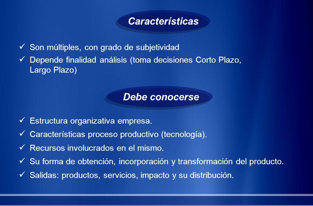 Son múltiples, con grado de subjetividad Depende finalidad análisis (toma decisiones Corto Plazo, Largo Plazo) Debe conocerse Estructura organizativa