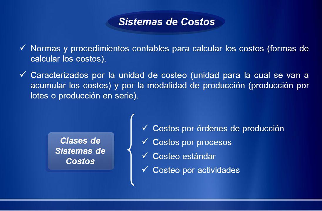 Normas y procedimientos contables para calcular los costos (formas de calcular los costos). Caracterizados por la unidad de costeo (unidad para la cua