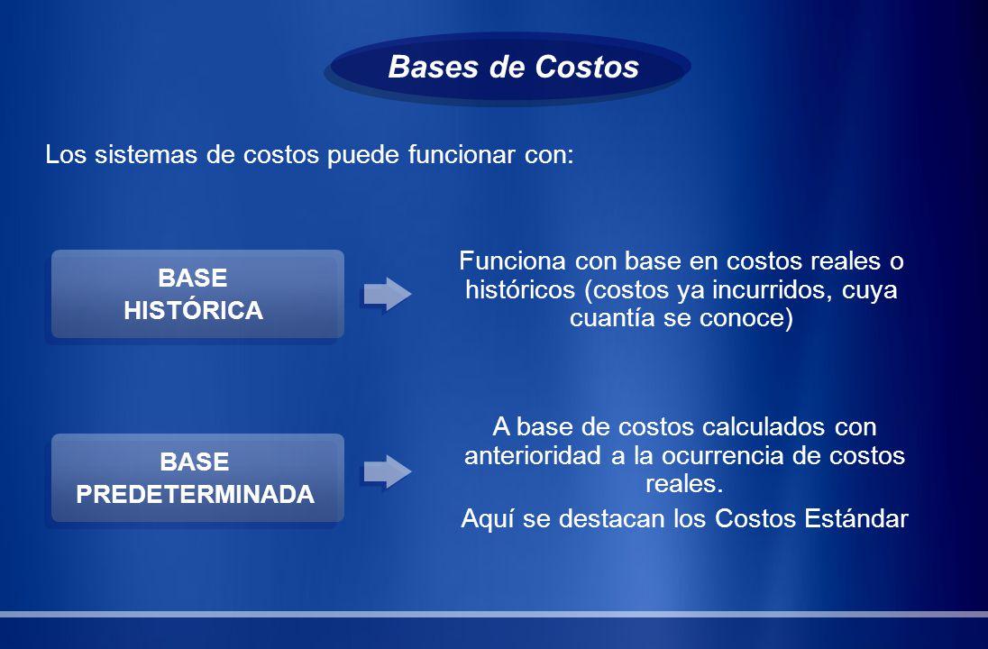 Bases de Costos Los sistemas de costos puede funcionar con: BASE PREDETERMINADA BASE HISTÓRICA Funciona con base en costos reales o históricos (costos