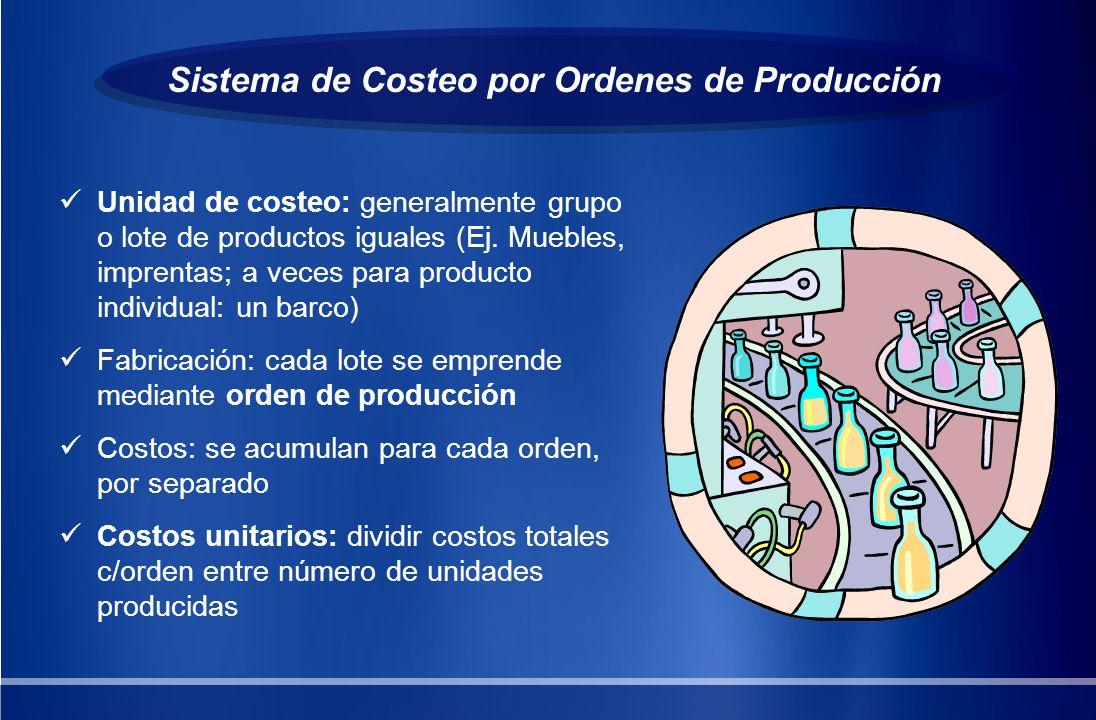 Sistema de Costeo por Ordenes de Producción Unidad de costeo: generalmente grupo o lote de productos iguales (Ej. Muebles, imprentas; a veces para pro