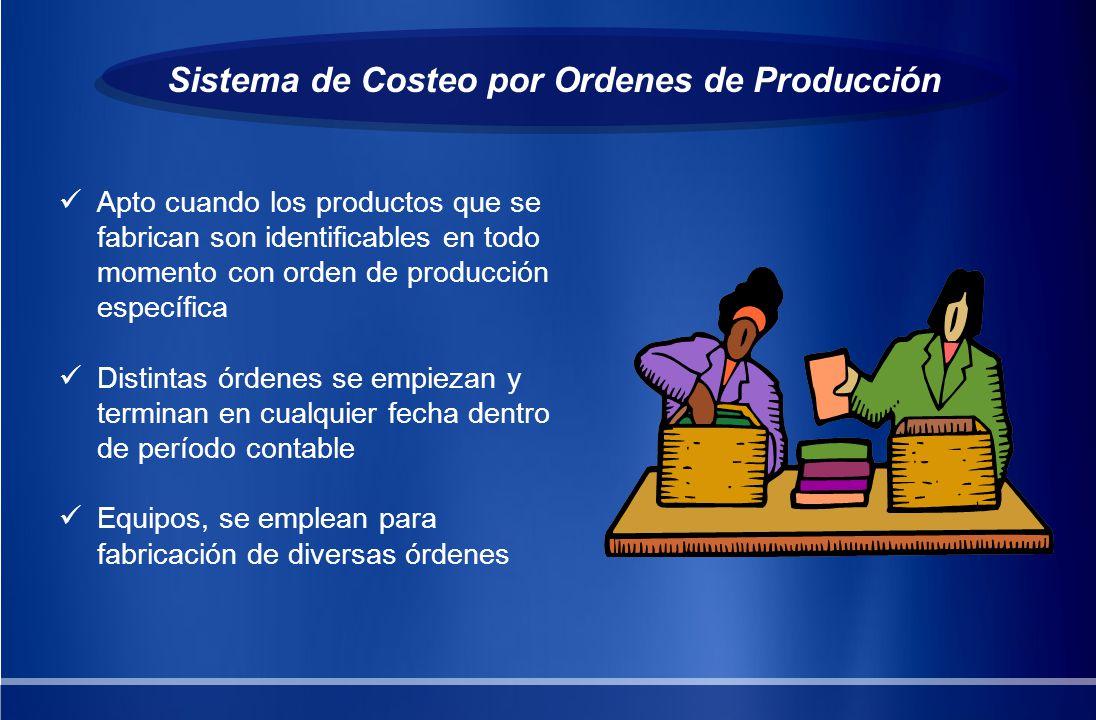 Sistema de Costeo por Ordenes de Producción Utilizado por compañías cuyos productos son rápidamente identificables por unidades individuales o lotes.