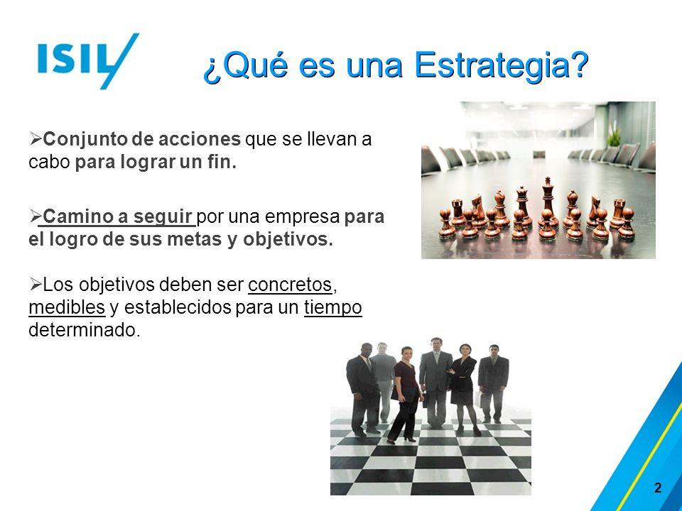 ¿Qué es una Estrategia? 2  Conjunto de acciones que se llevan a cabo para lograr un fin.  Camino a seguir por una empresa para el logro de sus metas
