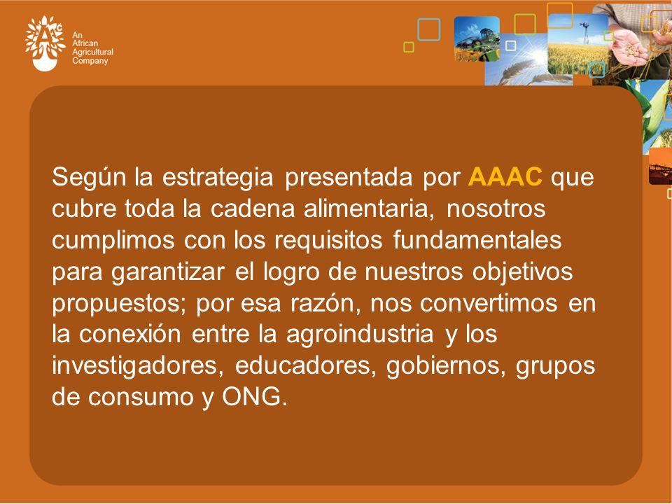 Según la estrategia presentada por AAAC que cubre toda la cadena alimentaria, nosotros cumplimos con los requisitos fundamentales para garantizar el logro de nuestros objetivos propuestos; por esa razón, nos convertimos en la conexión entre la agroindustria y los investigadores, educadores, gobiernos, grupos de consumo y ONG.