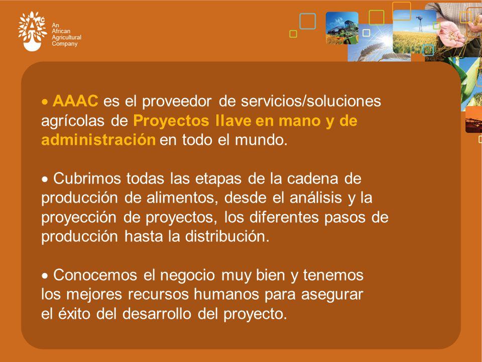  AAAC es el proveedor de servicios/soluciones agrícolas de Proyectos llave en mano y de administración en todo el mundo.