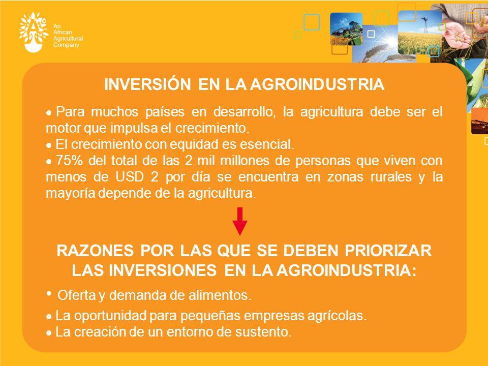 INVERSIÓN EN LA AGROINDUSTRIA  Para muchos países en desarrollo, la agricultura debe ser el motor que impulsa el crecimiento.