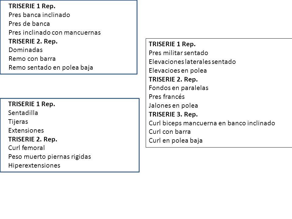 TRISERIE 1 Rep.Pres banca inclinado Pres de banca Pres inclinado con mancuernas TRISERIE 2.