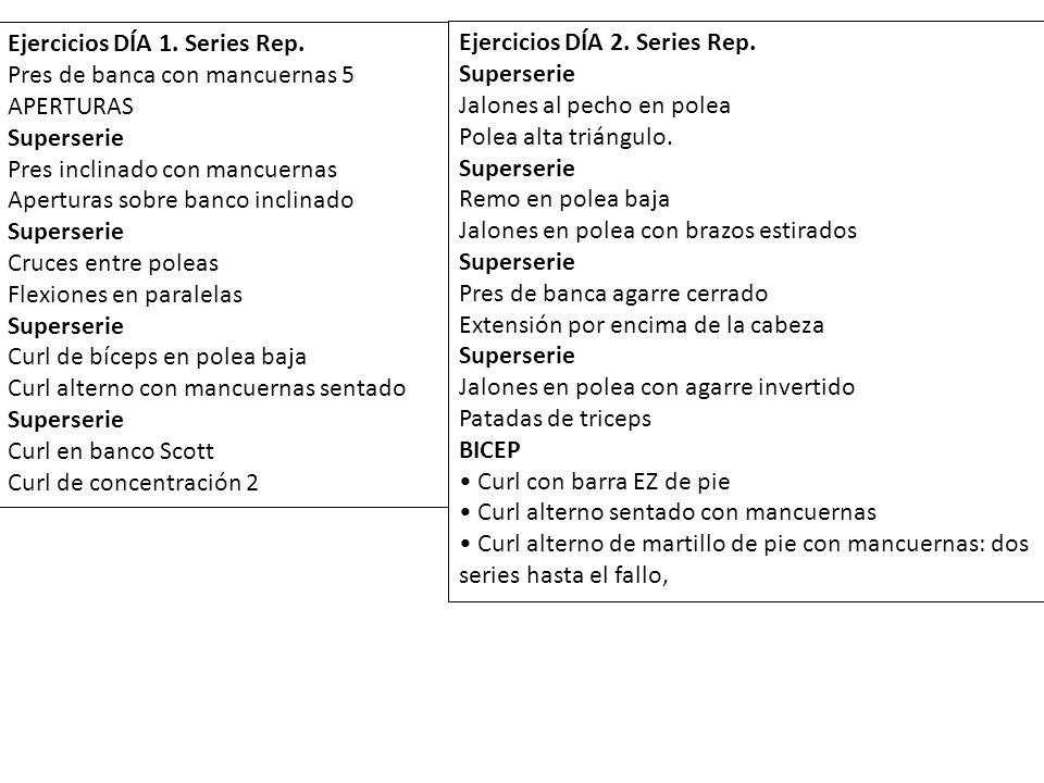 Ejercicios DÍA 1. Series Rep. Pres de banca con mancuernas 5 APERTURAS Superserie Pres inclinado con mancuernas Aperturas sobre banco inclinado Supers