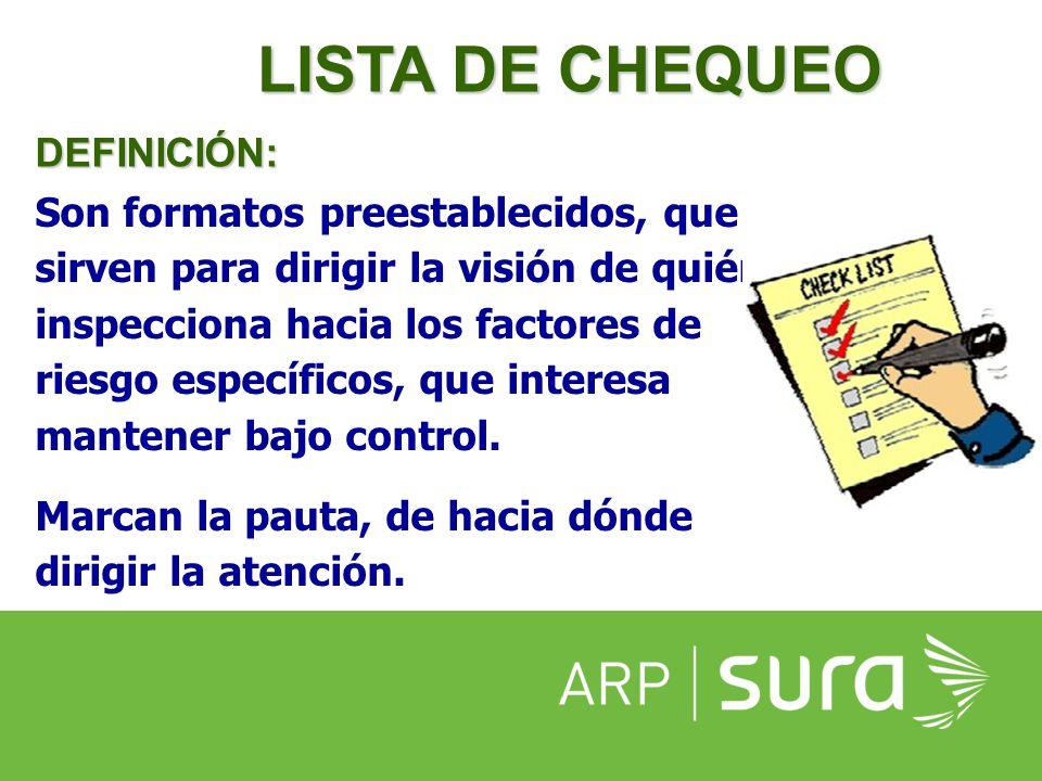 ARP SURA LISTA DE CHEQUEO Información para su elaboración  Retomar el Panorama de Factores de Riesgo de la empresa.