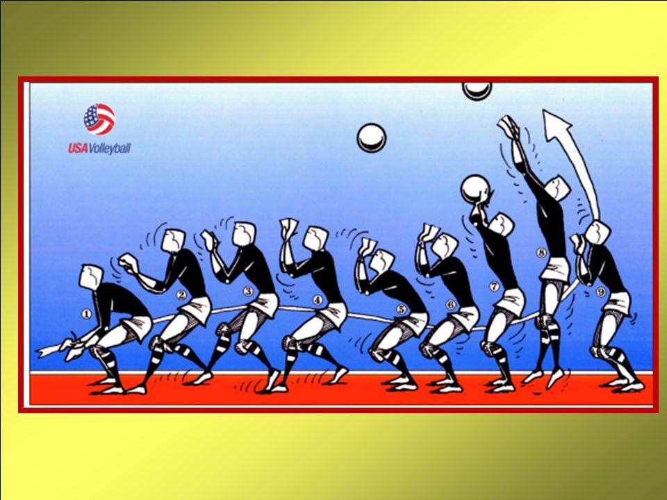El golpe propiamentedicho es casi igual al del golpe de manos altas hacia adelante, siendo la única diferencia la velocidad con la cual se extienden los brazos y obviamente la dirección que tomará el balón (paralelo al piso o mejor aún de arriba hacia abajo si el impacto se hace a muy buena altura).