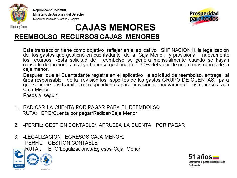 República de Colombia Ministerio de Justicia y del Derecho Superintendencia de Notariado y Registro CAJAS MENORES 4.