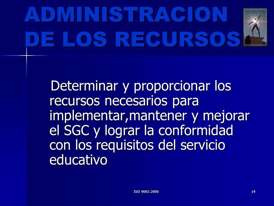 ISO 9001:200014 ADMINISTRACION DE LOS RECURSOS Determinar y proporcionar los recursos necesarios para implementar,mantener y mejorar el SGC y lograr l