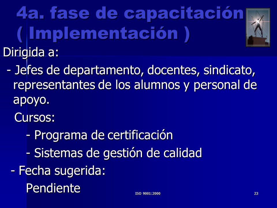 ISO 9001:200023 4a. fase de capacitación ( Implementación ) Dirigida a: - Jefes de departamento, docentes, sindicato, representantes de los alumnos y