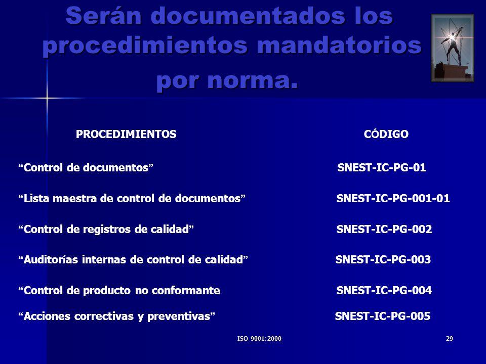 ISO 9001:200029 Serán documentados los procedimientos mandatorios Serán documentados los procedimientos mandatorios por norma. por norma. PROCEDIMIENT