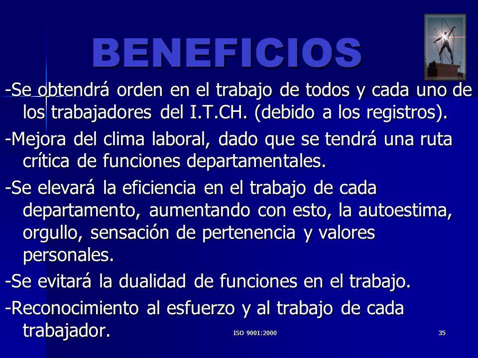 ISO 9001:200035 BENEFICIOS -Se obtendrá orden en el trabajo de todos y cada uno de los trabajadores del I.T.CH. (debido a los registros). -Mejora del