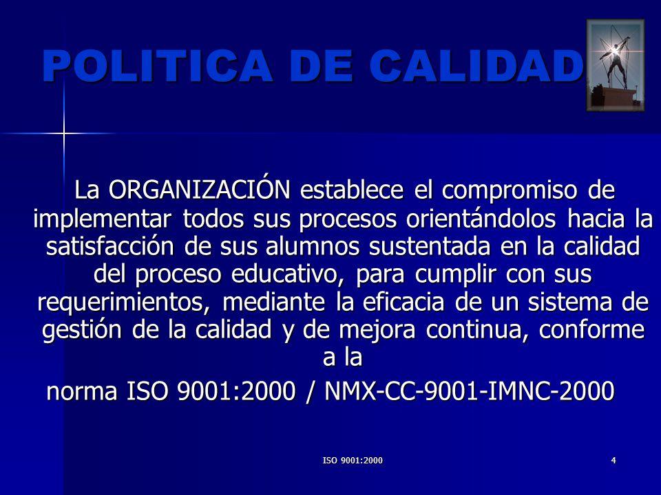 ISO 9001:200035 BENEFICIOS -Se obtendrá orden en el trabajo de todos y cada uno de los trabajadores del I.T.CH.