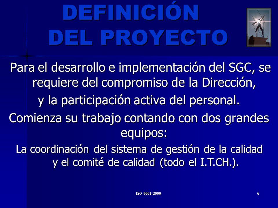 ISO 9001:20007 Es el Director y se apoya en el representante de la dirección que es designado por éste como el líder natural del proyecto de implementación Es el Director y se apoya en el representante de la dirección que es designado por éste como el líder natural del proyecto de implementación LIDER DEL PROYECTO