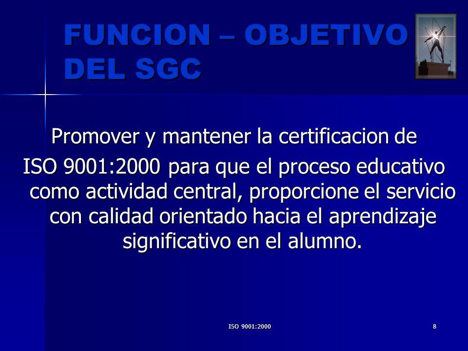 ISO 9001:20008 FUNCION – OBJETIVO DEL SGC Promover y mantener la certificacion de ISO 9001:2000 para que el proceso educativo como actividad central,