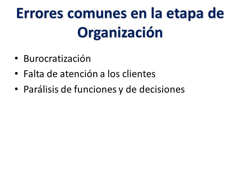 Errores comunes en la etapa de Organización Burocratización Falta de atención a los clientes Parálisis de funciones y de decisiones