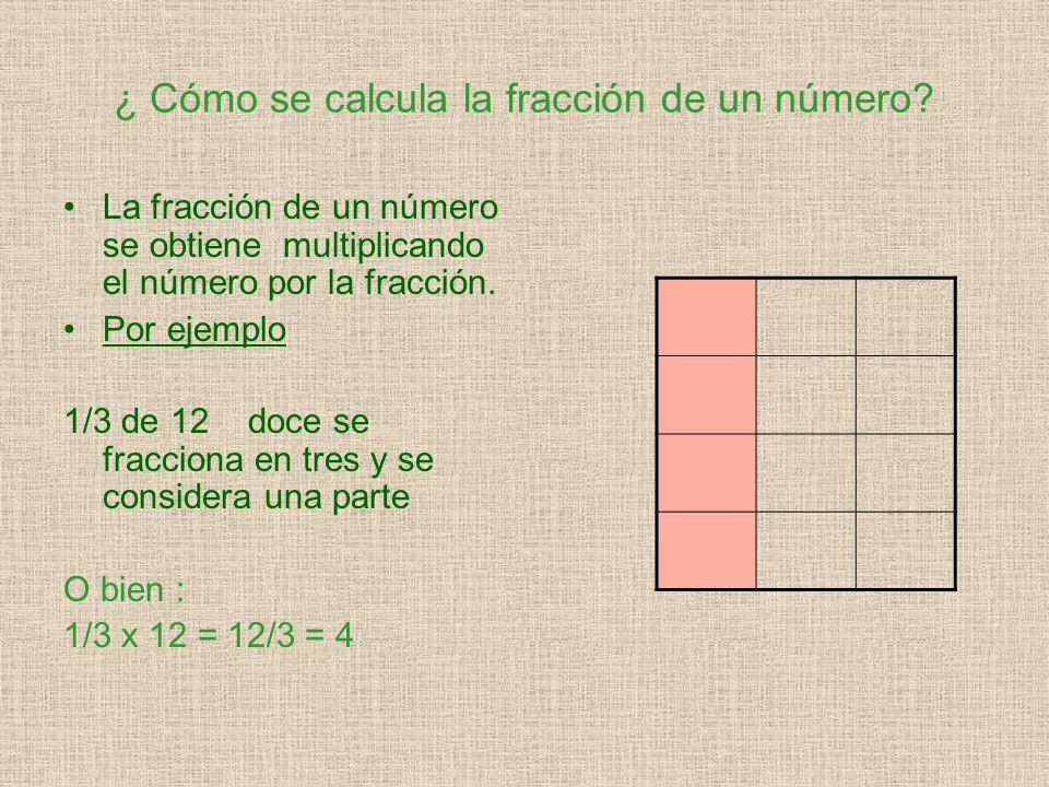 ¿ Cómo se calcula la fracción de un número.