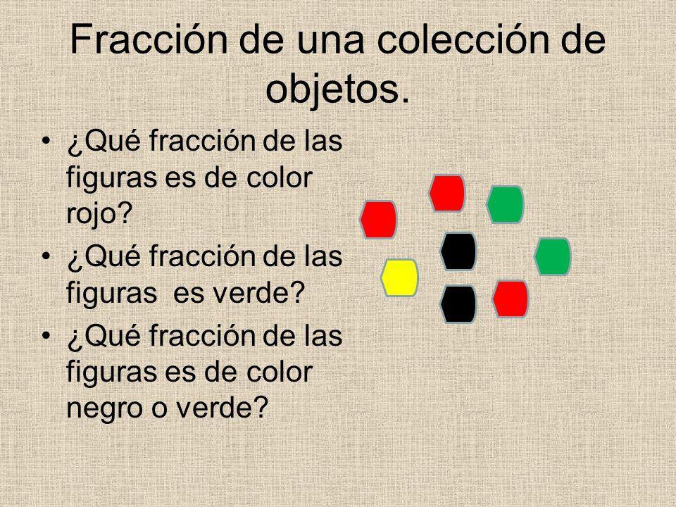 Fracción de una colección de objetos.¿Qué fracción de las figuras es de color rojo.