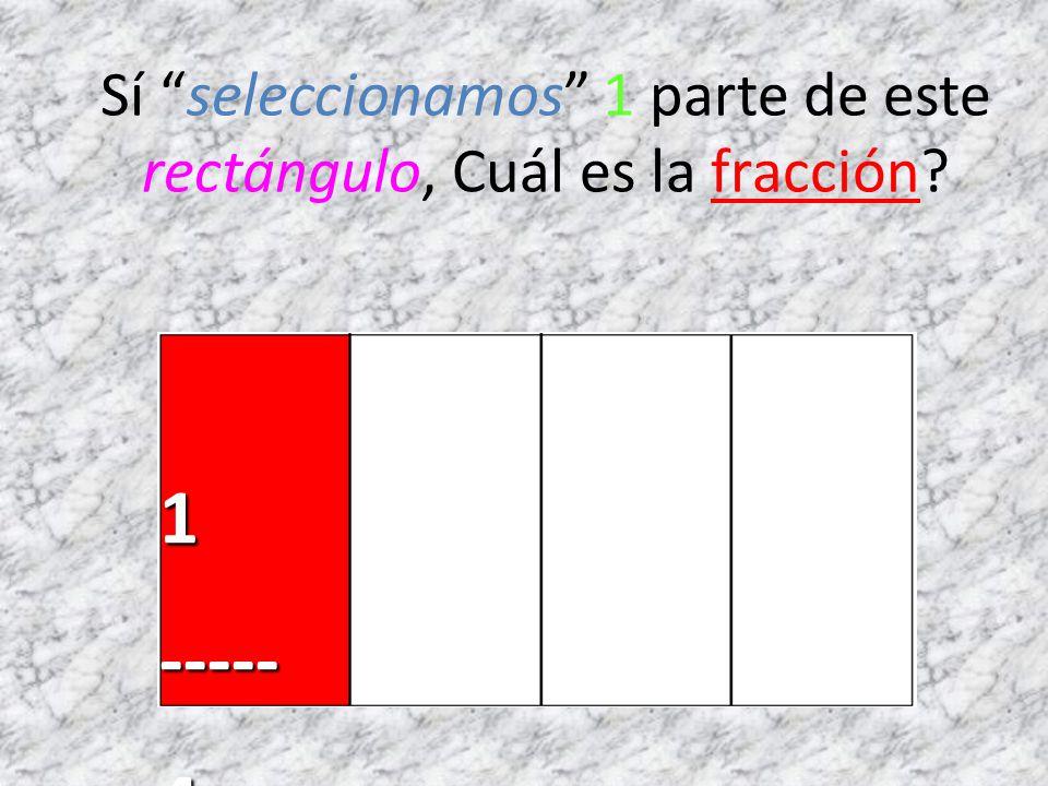 Sí seleccionamos 1 parte de este rectángulo, Cuál es la fracción?