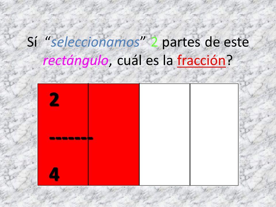 Sí seleccionamos 2 partes de este rectángulo, cuál es la fracción?