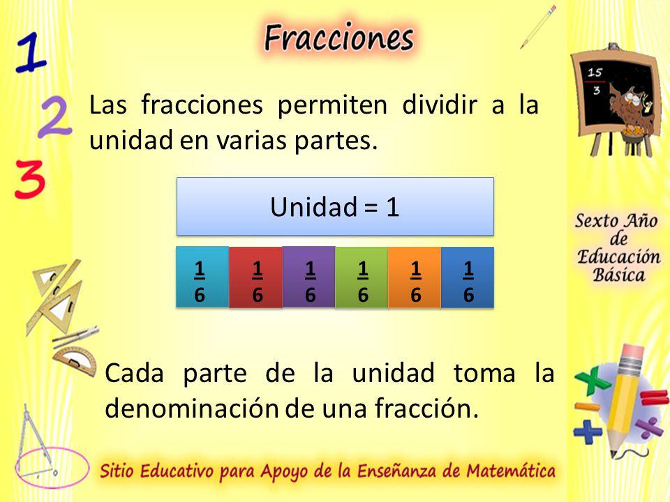 Las fracciones permiten dividir a la unidad en varias partes.