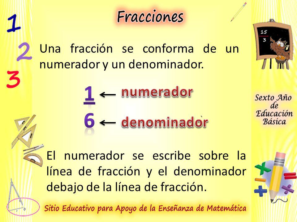 Una fracción se conforma de un numerador y un denominador.