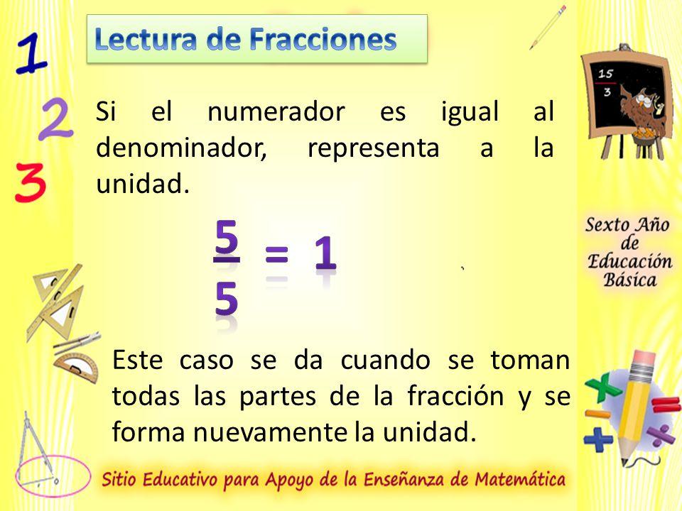 Si el numerador es igual al denominador, representa a la unidad.