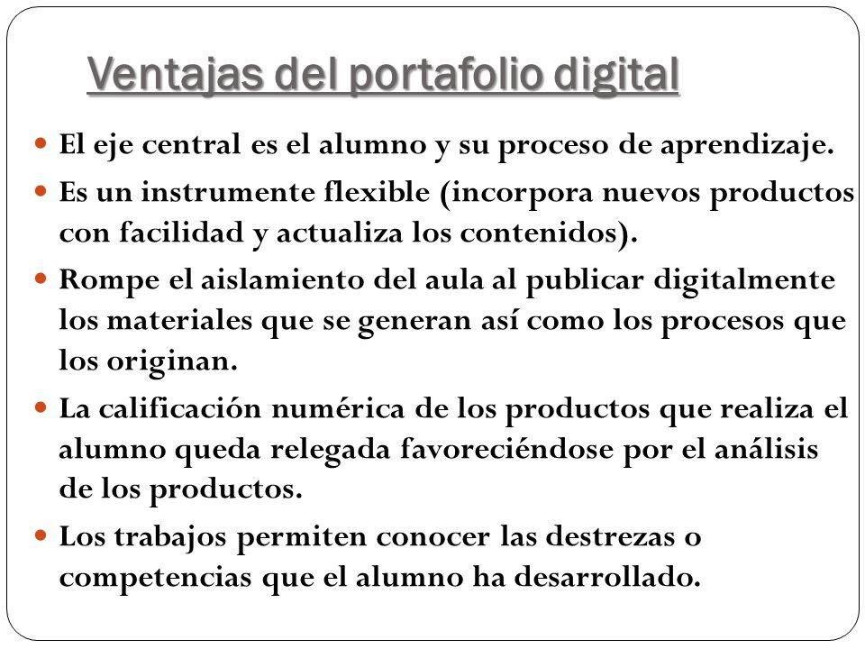 Ventajas del portafolio digital El eje central es el alumno y su proceso de aprendizaje. Es un instrumente flexible (incorpora nuevos productos con fa