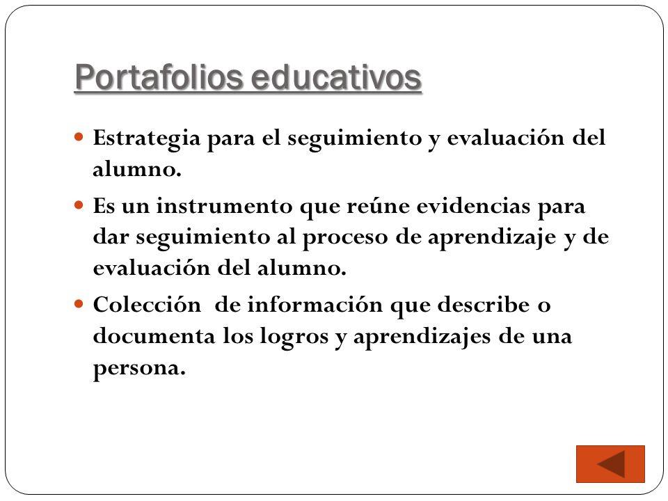 Portafolios educativos Estrategia para el seguimiento y evaluación del alumno. Es un instrumento que reúne evidencias para dar seguimiento al proceso