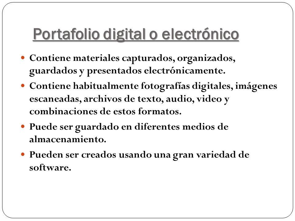 Portafolio digital o electrónico Contiene materiales capturados, organizados, guardados y presentados electrónicamente. Contiene habitualmente fotogra