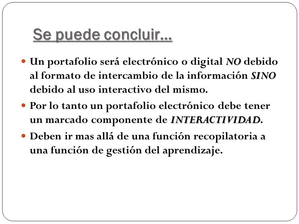 Se puede concluir… NO SINO Un portafolio será electrónico o digital NO debido al formato de intercambio de la información SINO debido al uso interacti