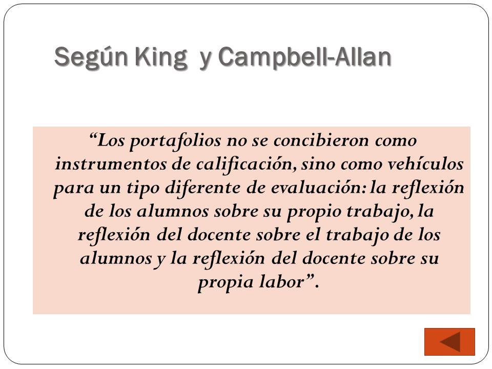 """Según King y Campbell-Allan """"Los portafolios no se concibieron como instrumentos de calificación, sino como vehículos para un tipo diferente de evalua"""