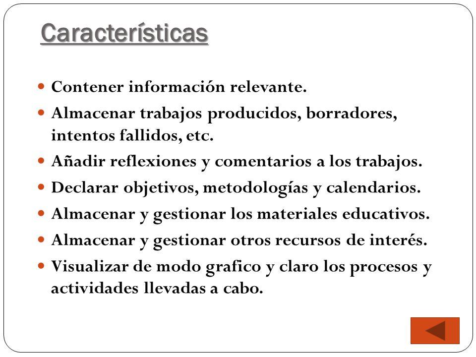 Características Contener información relevante. Almacenar trabajos producidos, borradores, intentos fallidos, etc. Añadir reflexiones y comentarios a