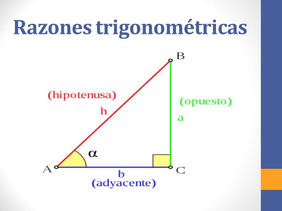 Seno Seno del ángulo B es la razón entre el cateto opuesto al ángulo y la hipotenusa.