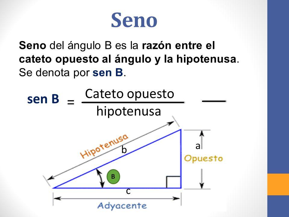 Coseno El coseno del ángulo B es la razón entre el cateto adyacente al ángulo y la hipotenusa.