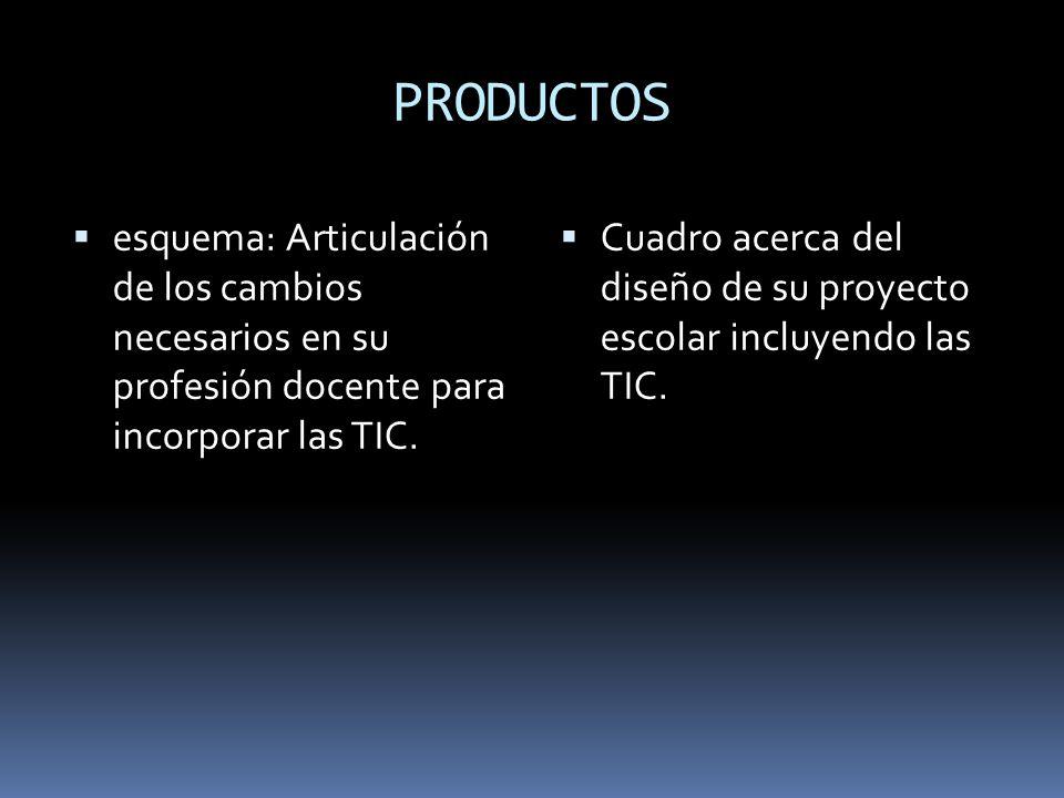 PRODUCTOS  esquema: Articulación de los cambios necesarios en su profesión docente para incorporar las TIC.