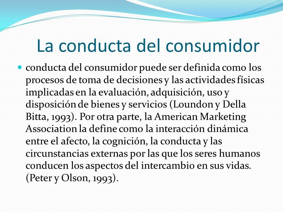 La conducta del consumidor conducta del consumidor puede ser definida como los procesos de toma de decisiones y las actividades físicas implicadas en