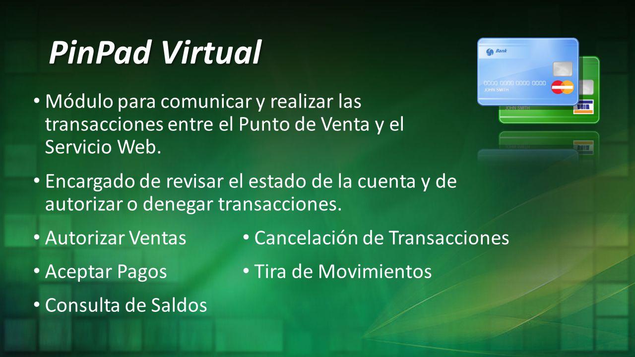 PinPad Virtual Módulo para comunicar y realizar las transacciones entre el Punto de Venta y el Servicio Web. Autorizar Ventas Encargado de revisar el