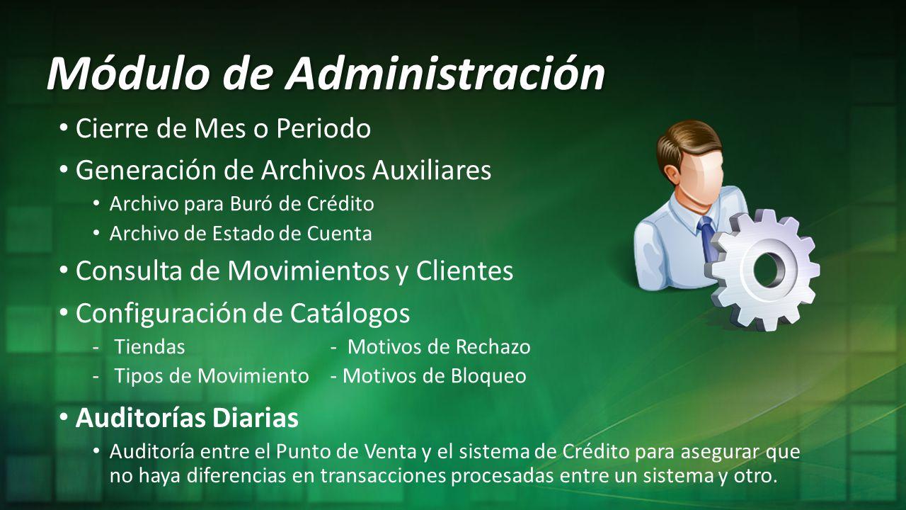 Módulo de Administración Cierre de Mes o Periodo Generación de Archivos Auxiliares Archivo para Buró de Crédito Archivo de Estado de Cuenta Consulta d