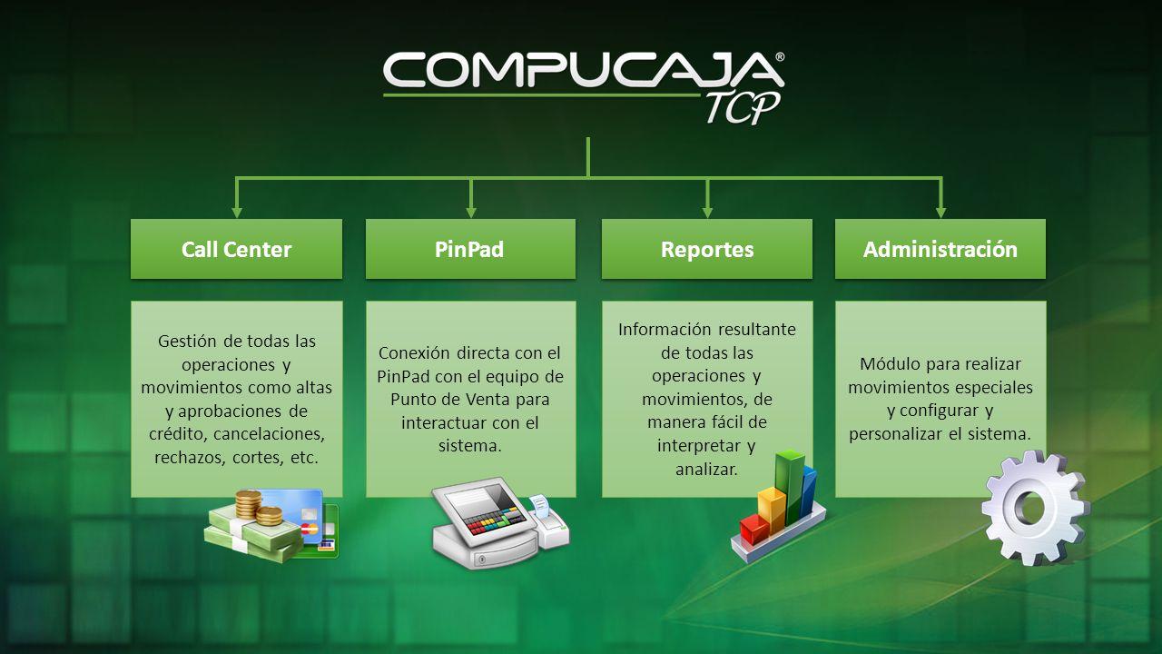 Call Center PinPad Reportes Gestión de todas las operaciones y movimientos como altas y aprobaciones de crédito, cancelaciones, rechazos, cortes, etc.