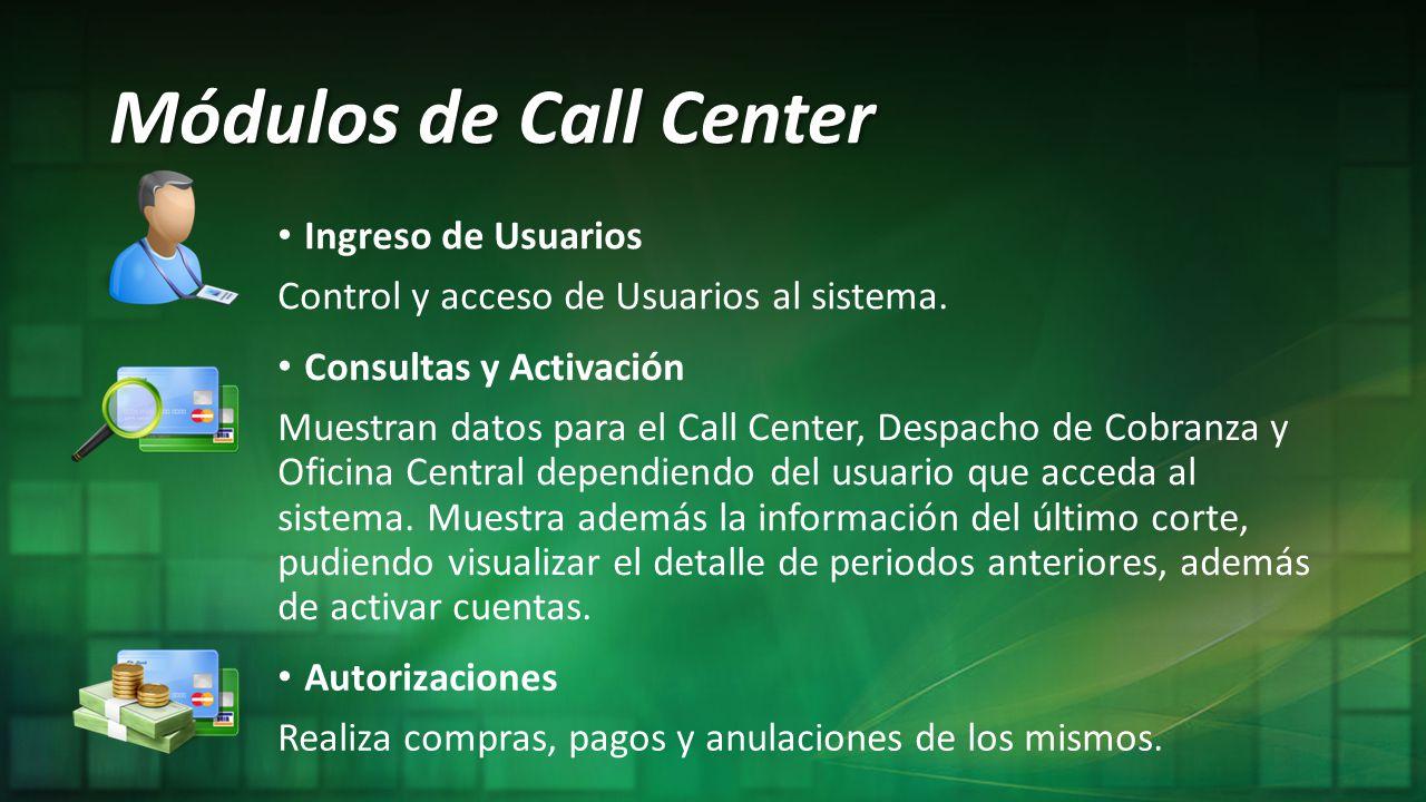 Módulos de Call Center Ingreso de Usuarios Control y acceso de Usuarios al sistema. Consultas y Activación Muestran datos para el Call Center, Despach