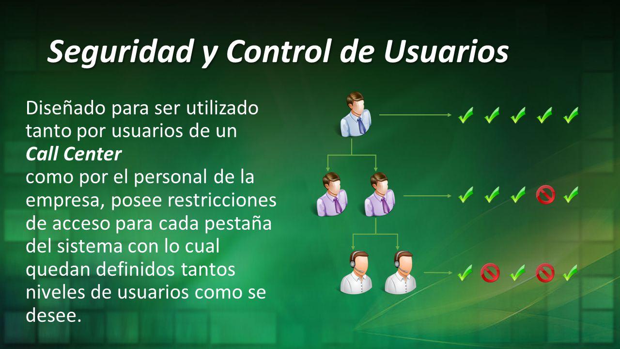 Seguridad y Control de Usuarios Diseñado para ser utilizado tanto por usuarios de un Call Center como por el personal de la empresa, posee restriccion