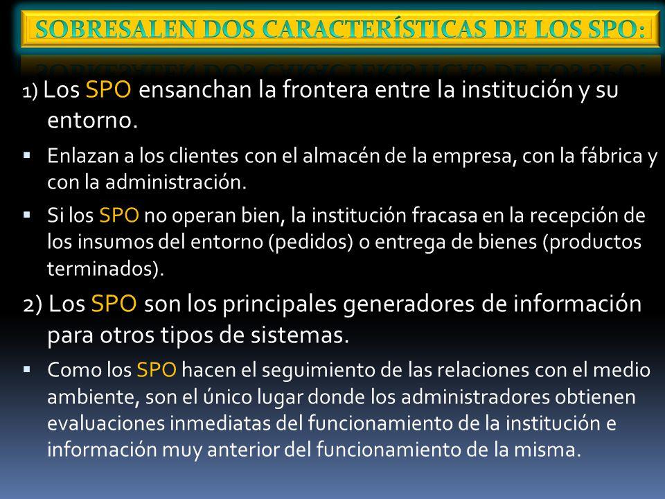 1) Los SPO ensanchan la frontera entre la institución y su entorno.
